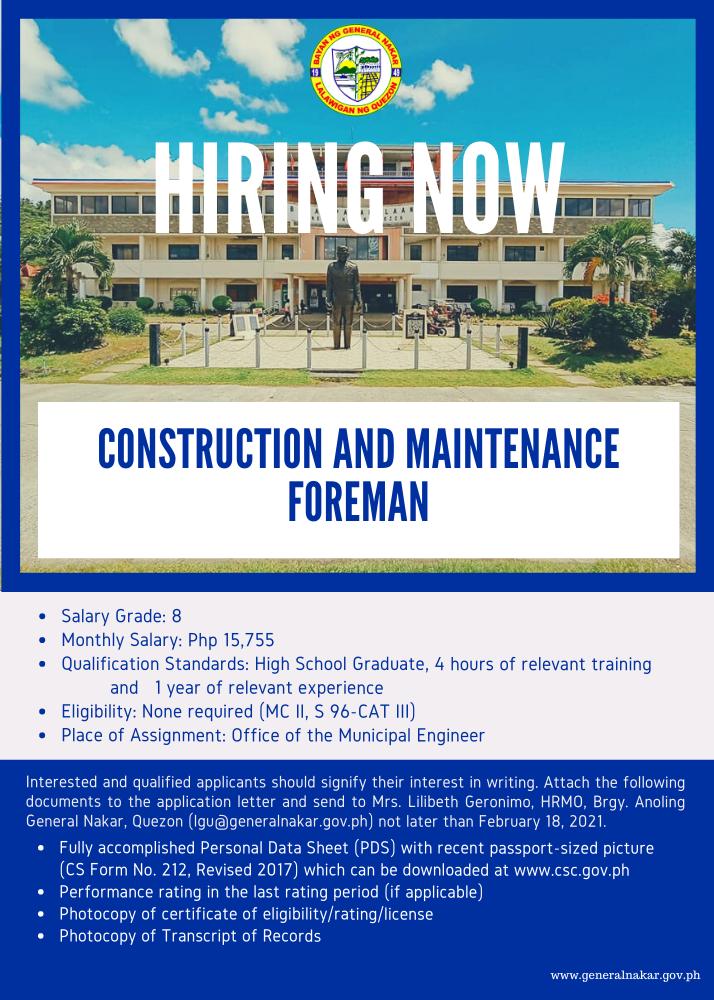 Hiring - Foreman
